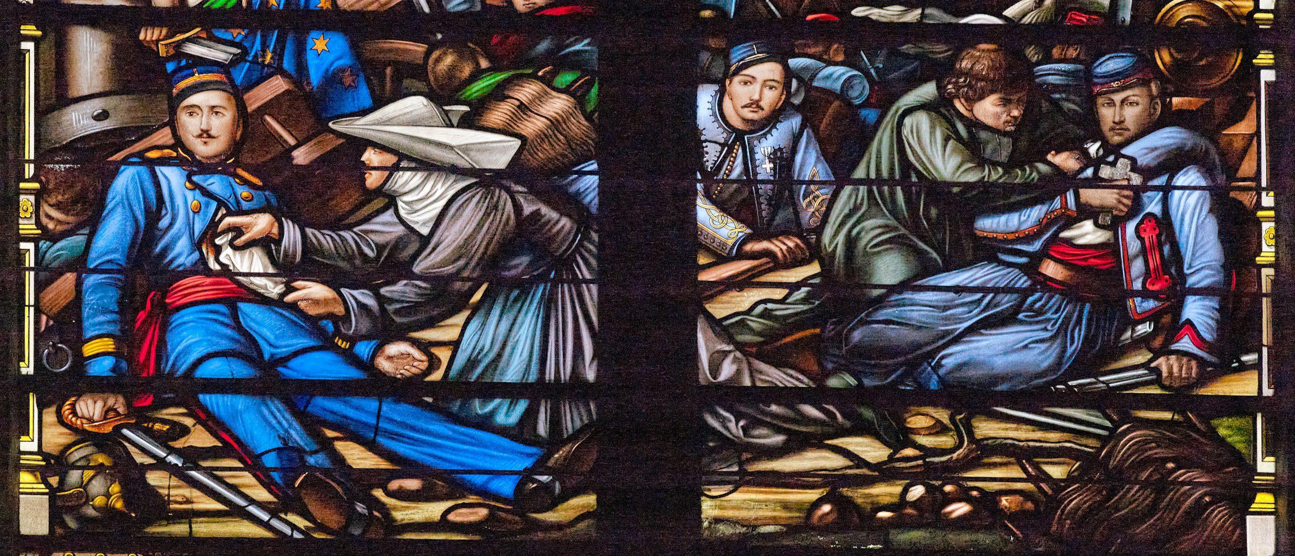 Vitrail représentant la bataille d'Autours dans la basilique Notre-Dame-de-Bon-Secours à Guingamp (Côtes d'Armor) © Région Bretagne